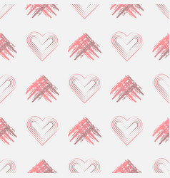 valentines day background with grunge hearts and vector image