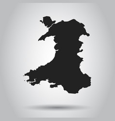 Wales map black icon on white background vector