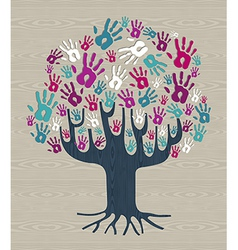 Winter colors Diversity Tree hands vector image