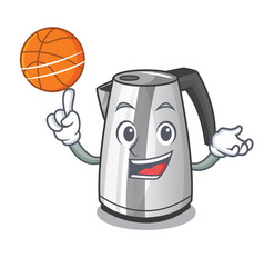 With basketball electric stainless steel kettle on vector