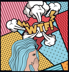 Woman saying wtf pop art style vector