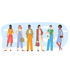 young women trendy characters vector image