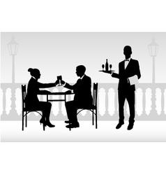 couple in restaurant vector image