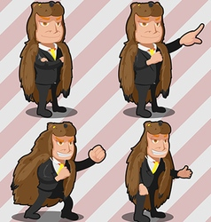 Mascot Bear Business Man Russia vector image