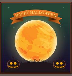 poster halloween day silhouette pumpkin lantern vector image
