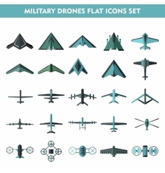 Set icons of drone isolated on white vector image vector image