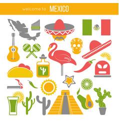 set of mexico travel symbols mexican flat vector image vector image