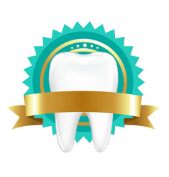 tooth with label vector image vector image