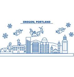 usa oregon portland winter city skyline merry vector image