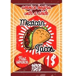 Color vintage mexican food poster vector image