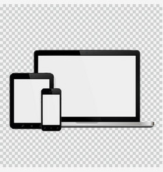 Laptop smartphone and tablet mockup vector