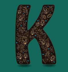 letter k with golden floral decor vector image