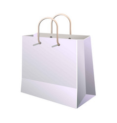 paper shopping bag with handle isolated on white vector image vector image
