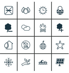 set of 16 ecology icons includes bonfire home vector image vector image