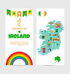 background template with tourist map of ireland vector image