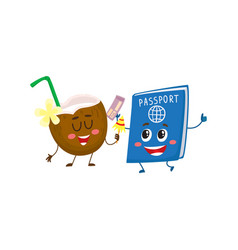 funny passport and coconut characters travelling vector image vector image