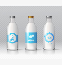glass bottles of natural milk isolated realistic vector image vector image