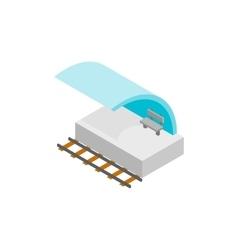 Railway platform isometric 3d icon vector image