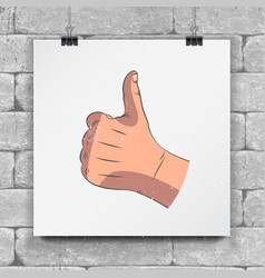 realistic hands - gestures hand-drawn icon of a vector image vector image
