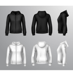 Women black and white hooded sweatshirts vector