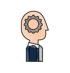 cartoon business man with gear brain creativity vector image
