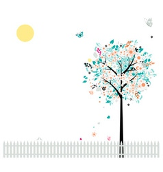 Floral tree beautiful for your design birds on fen vector image