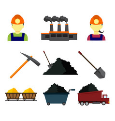 simple flat style mining graphic set vector image