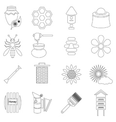 Apiary icons set outline style vector image