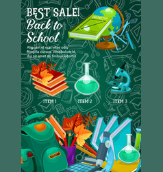 back to school stationery sale web banner vector image