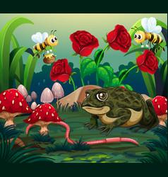 background scene with roses in garden vector image