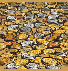 background with different coins seamless border vector image