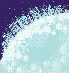 Background with winter house vector