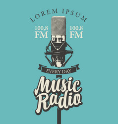 banner for music radio with studio microphone vector image