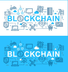 bitcoin cryptocurrency blockchain digital network vector image