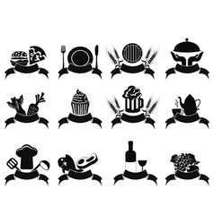 black food banner icons set vector image