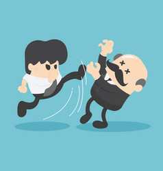 Boss businessman hit the kick by businessman vector