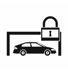 Car and padlock icon simple style vector