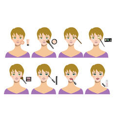 cartoon female makeup steps vector image