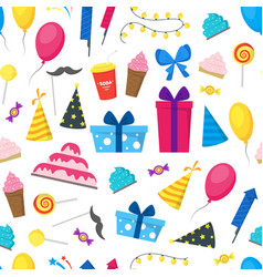 cartoon party holiday background pattern on a vector image
