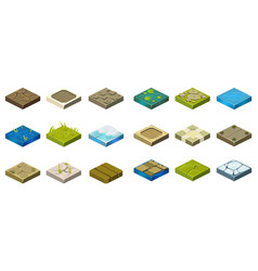 Cartoon set of isometric landscape tiles with vector