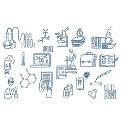 Chemistry lab work science equipment hand drawn vector