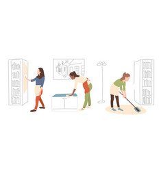 Cleaning service girl with rag wipe mirror vector