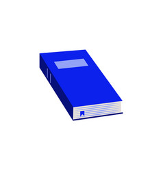 close paper book with blue hardcover flat icon for vector image