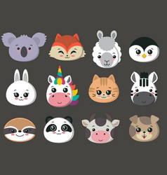 Collection of cute animal faces big icon vector