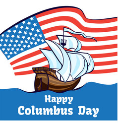 Columbus day concept banner cartoon style vector