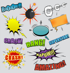 Comic colorful elements set vector