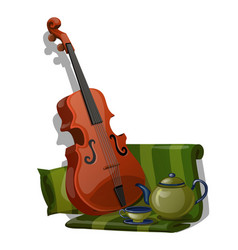 composition violin green striped fabric and vector image