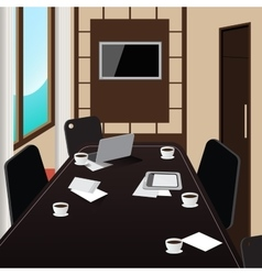 Conference room interior with table and laptop vector