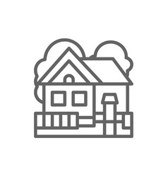 country house cottage landscape line icon vector image
