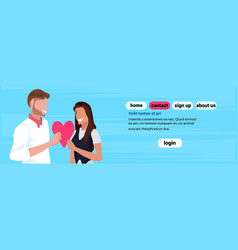 couple lovers holding red heart shape happy vector image
